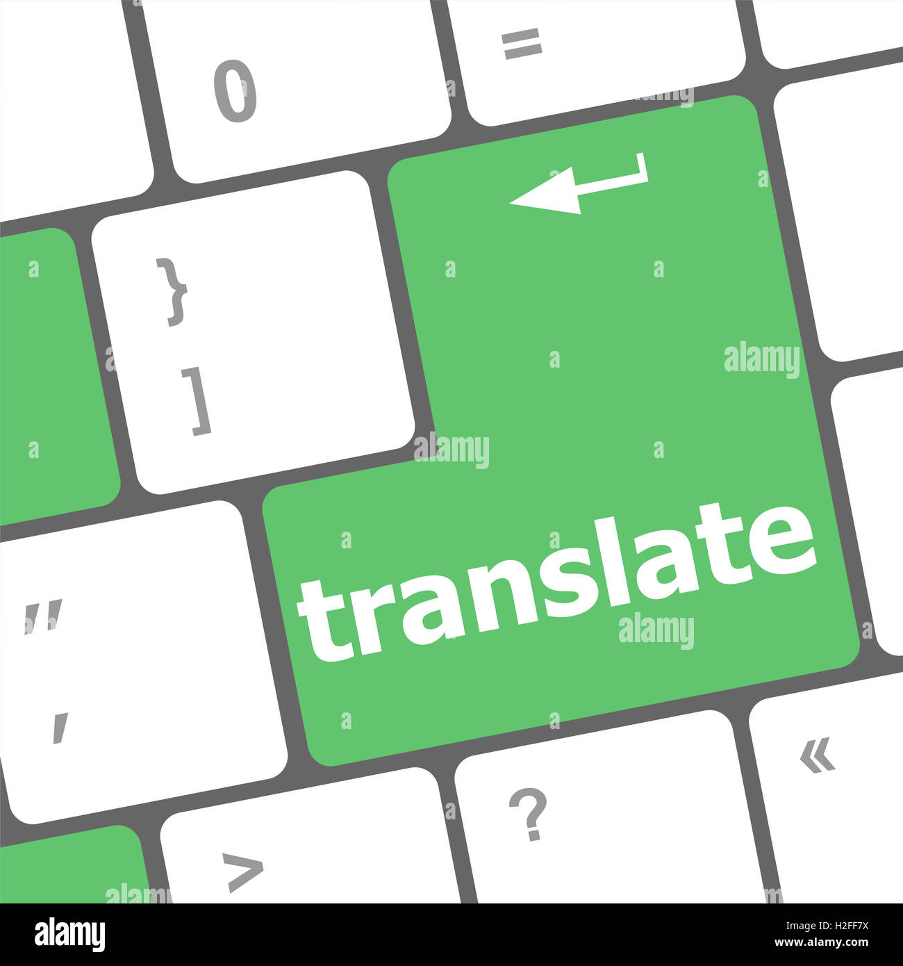 Multilingual translation on-line concept. Close up of multi language keyboard and translate word key Stock Photo