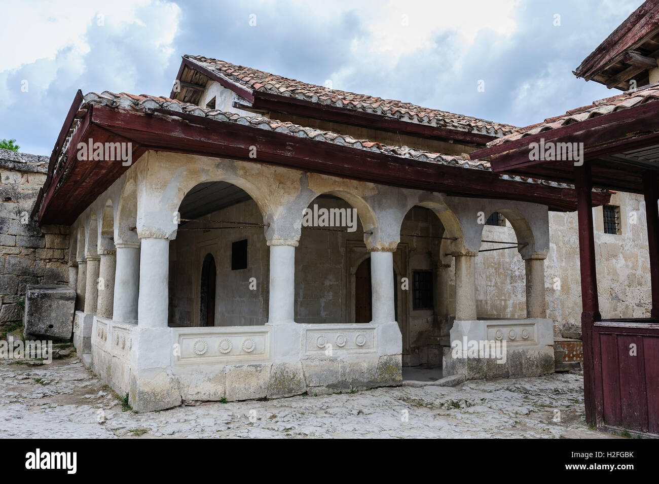 Karaite prayer house in Chufut-Kale, Crimea - Stock Image