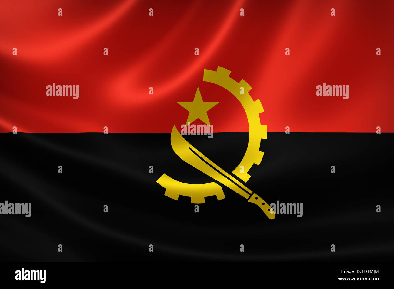 3D rendering of the flag of Angola on satin texture. - Stock Image