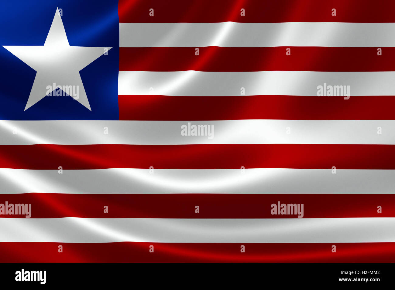 Close-up of the flag of Liberia on satin texture. - Stock Image