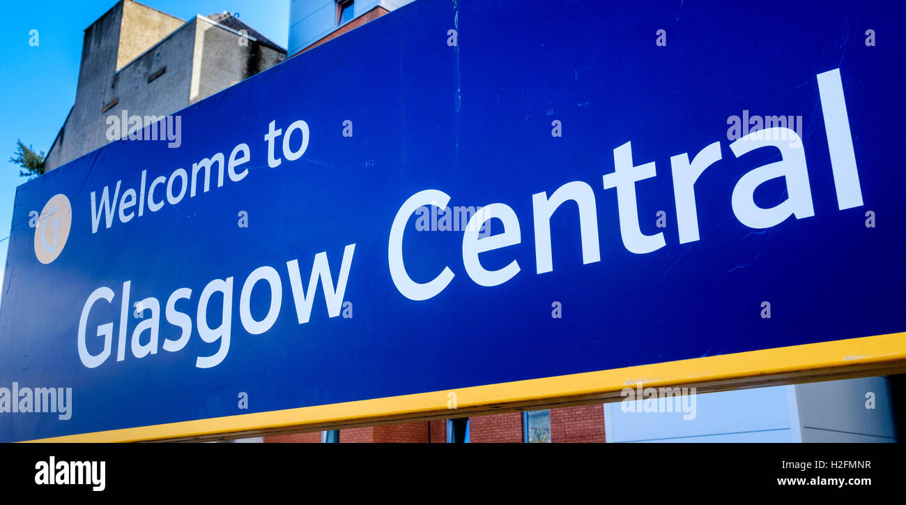 Welcome to Glasgow Central display board - Stock Image