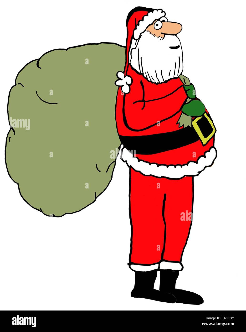 Christmas color illustration of Santa Claus with a large bag of ...