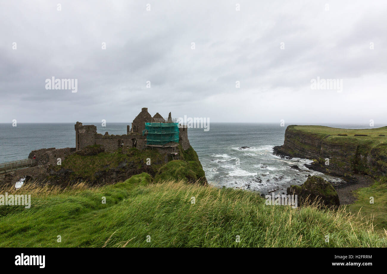 Dunluce Castle, Bushmills, County Antrim, Northern Ireland, UK - Stock Image