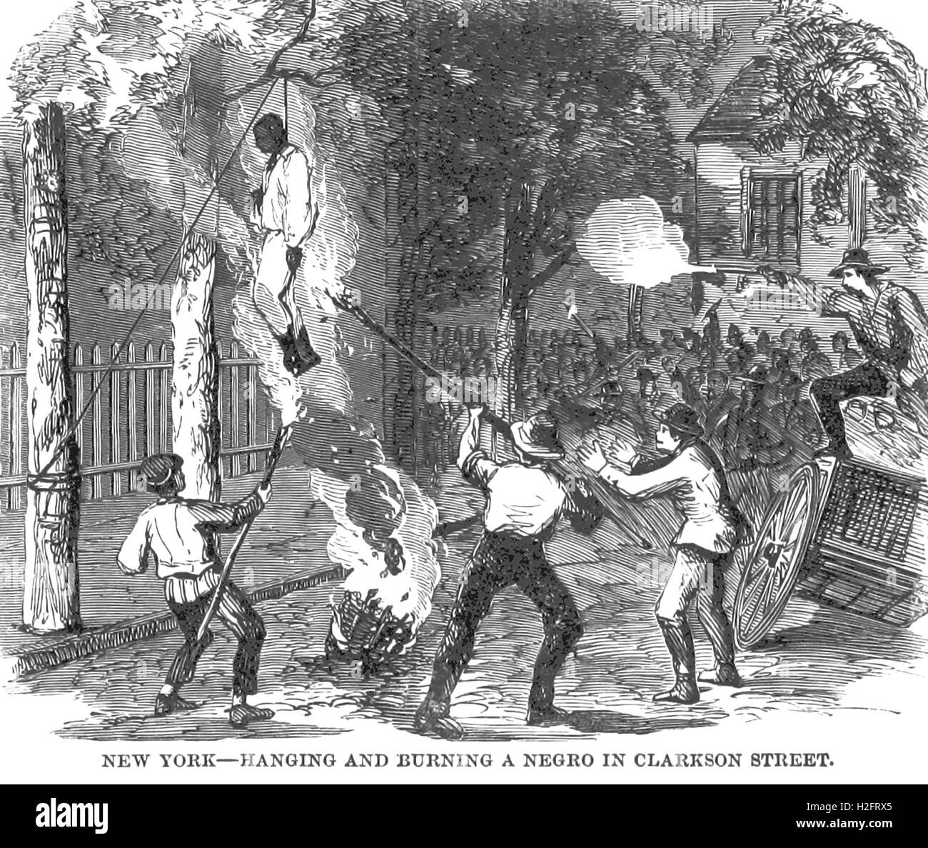 NEW YORK RIOTS   Lynching and burning a negro in Clarkson Street from J.T. Headley's 'Pen and Pencil Sketches - Stock Image