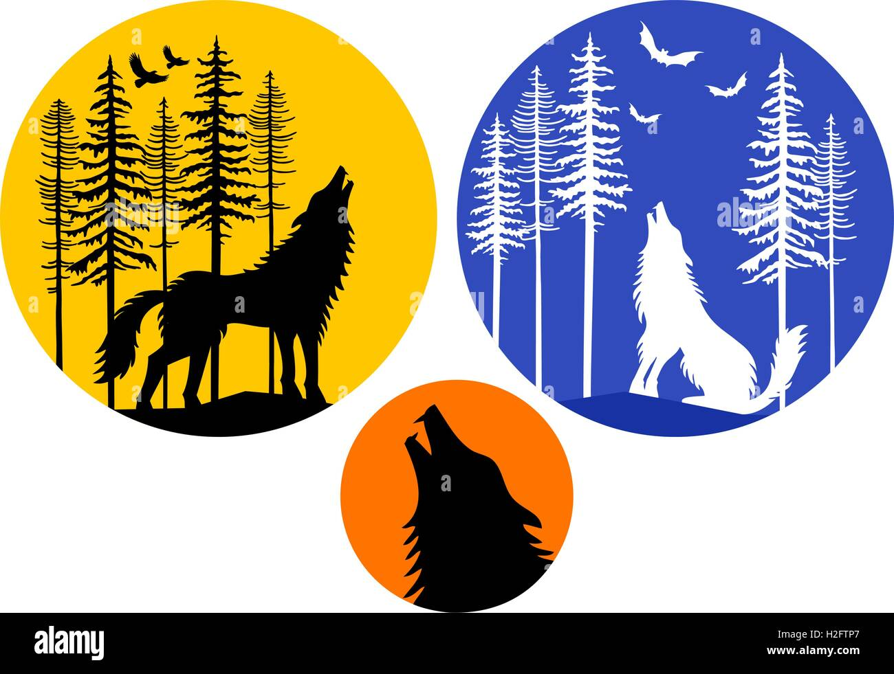 Howling wolf with moon, fir trees and flying birds, set of vector design elements - Stock Image