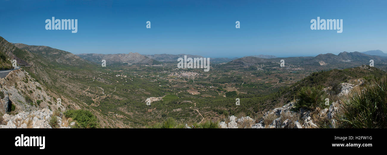 Panoramic view from the Col de Rates, village of Parcent, Pop Valley, Alicante Province, Spain - Stock Image