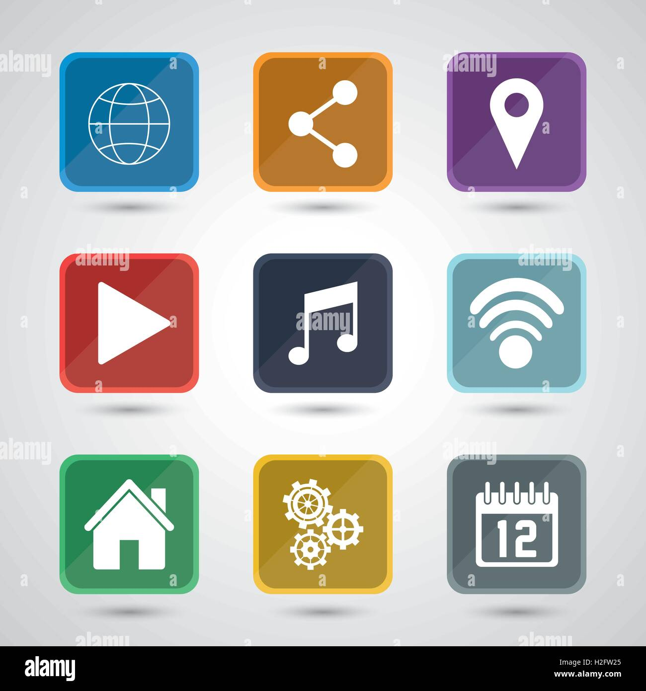 Apps And Frames Icon Set Stock Vector Image Art Alamy