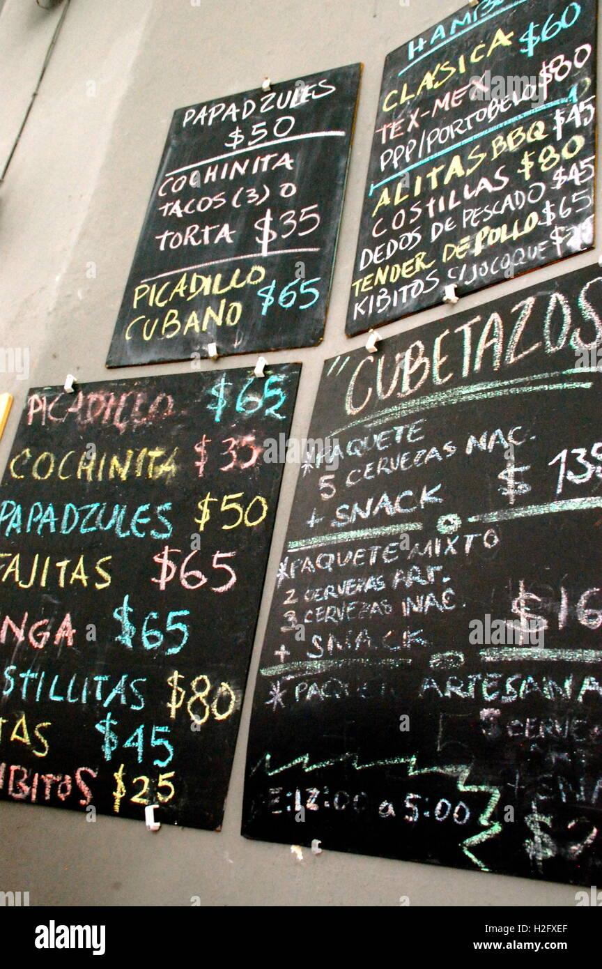 Food menu on blackboards in Mexico - Stock Image