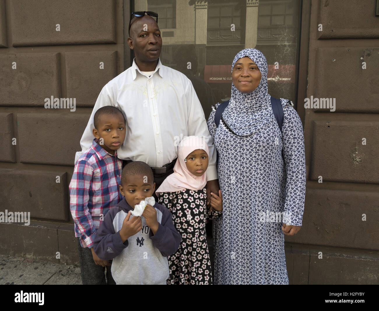 Family from Ivory Coast at American Muslim Day Parade in New York City, 2016. - Stock Image