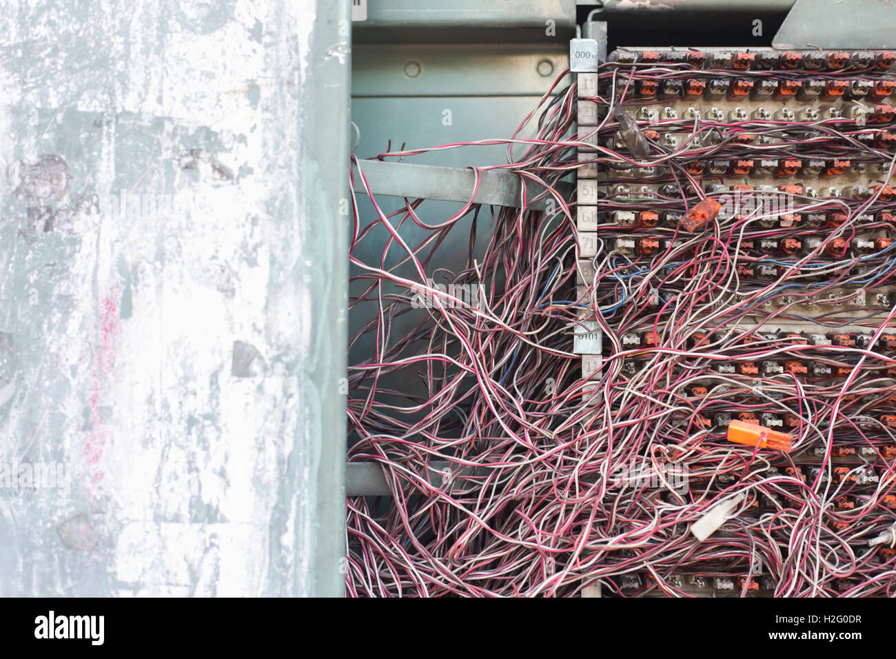 Awesome Switchboard Panel With Messy Cables Connections The Pabx Stock Photo Wiring 101 Mecadwellnesstrialsorg