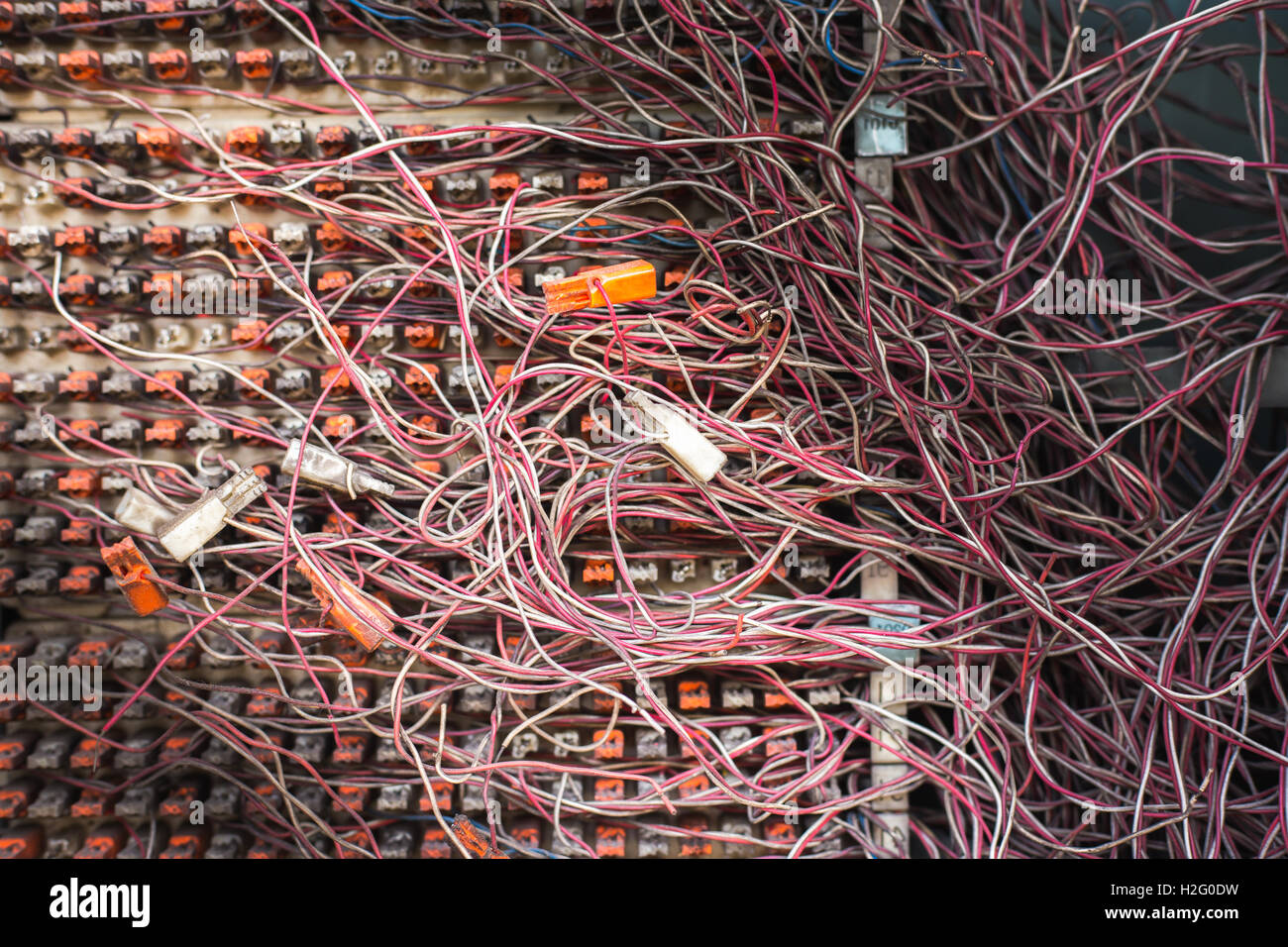 Switchboard Panel With Messy Cables Connectionsthe Pabx Stock Photo Network Wiring