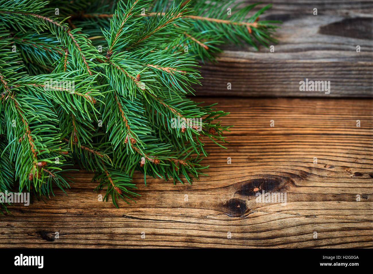 Christmas Background With Free Text Space Tree On A Rustic Wooden Board