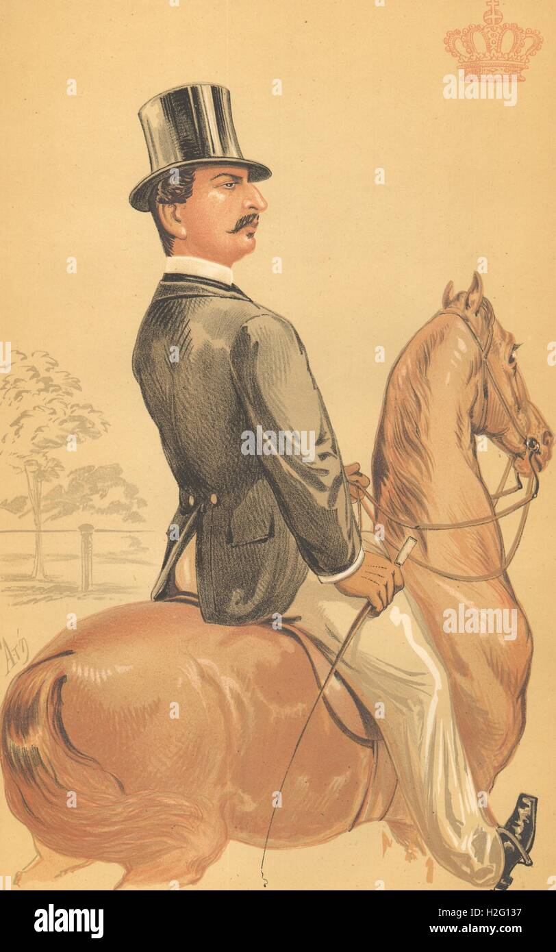 SPY CARTOON. Prince Teck 'The most popular of princes he has m..'. Germany. 1870 Stock Photo