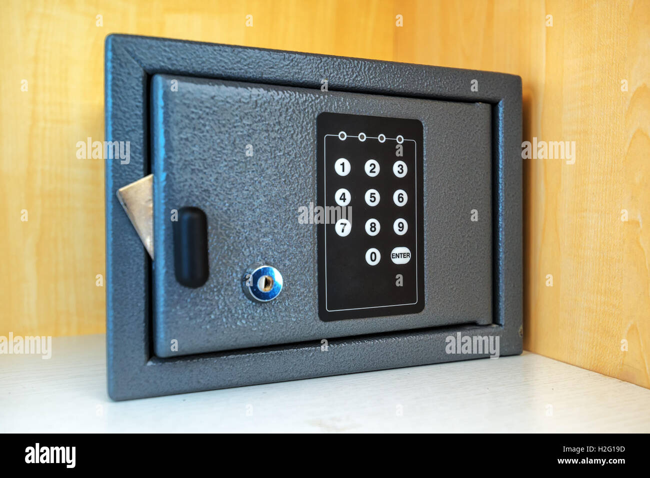 Hotel room safety deposit box with electronic PIN lock code Stock