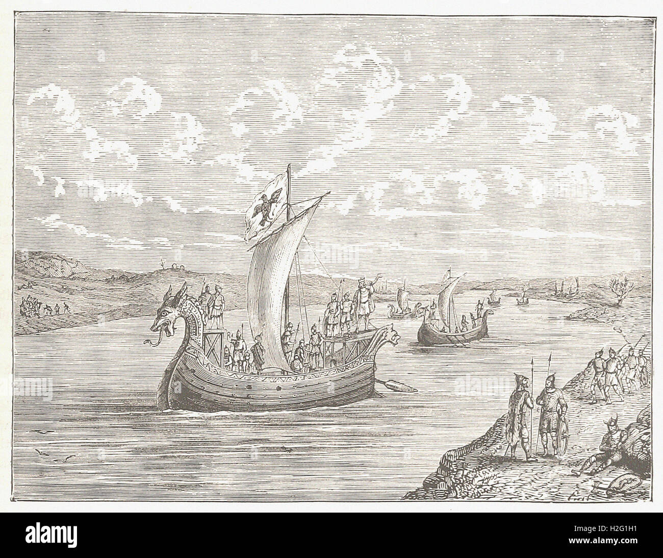 SCANDINAVIAN VESSELS ASCENDING A RIVER - from 'Cassell's Illustrated Universal History' - 1882 - Stock Image