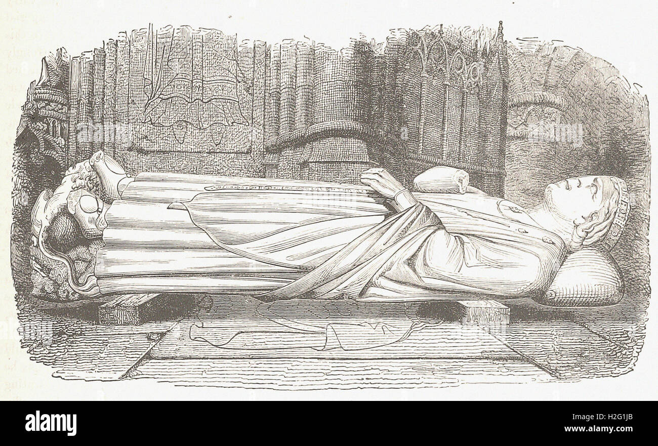 EFFIGY OF RICHARD CŒUR-DE-LION IN ROUEN CATHEDRAL  - from 'Cassell's Illustrated Universal History' - Stock Image