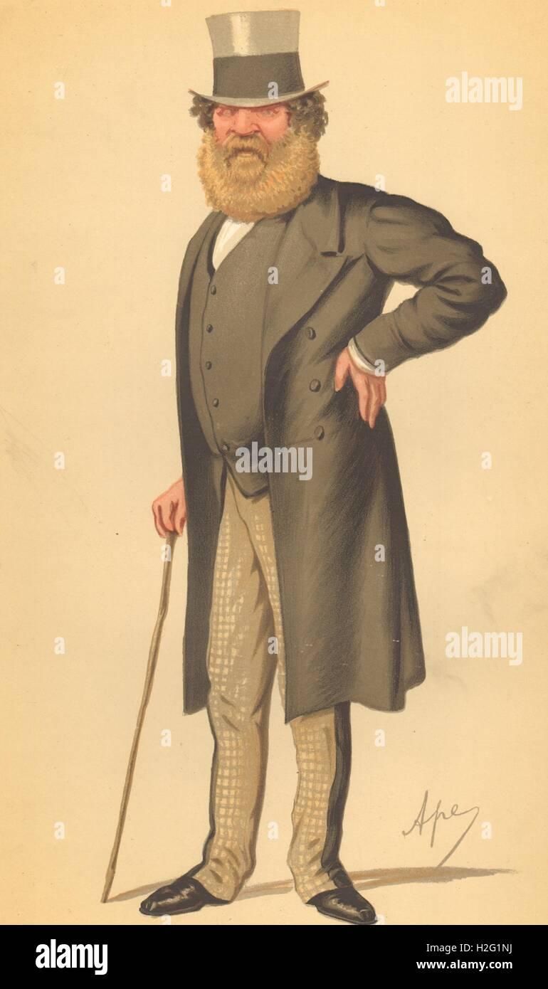 VANITY FAIR CARTOON. Col Thomas Edward Taylor 'Lately whipped'. Ireland. 1874 - Stock Image