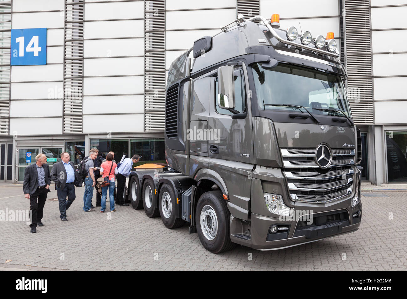 Mercedes Benz Actros heavy duty semitrailer truck Stock Photo ...