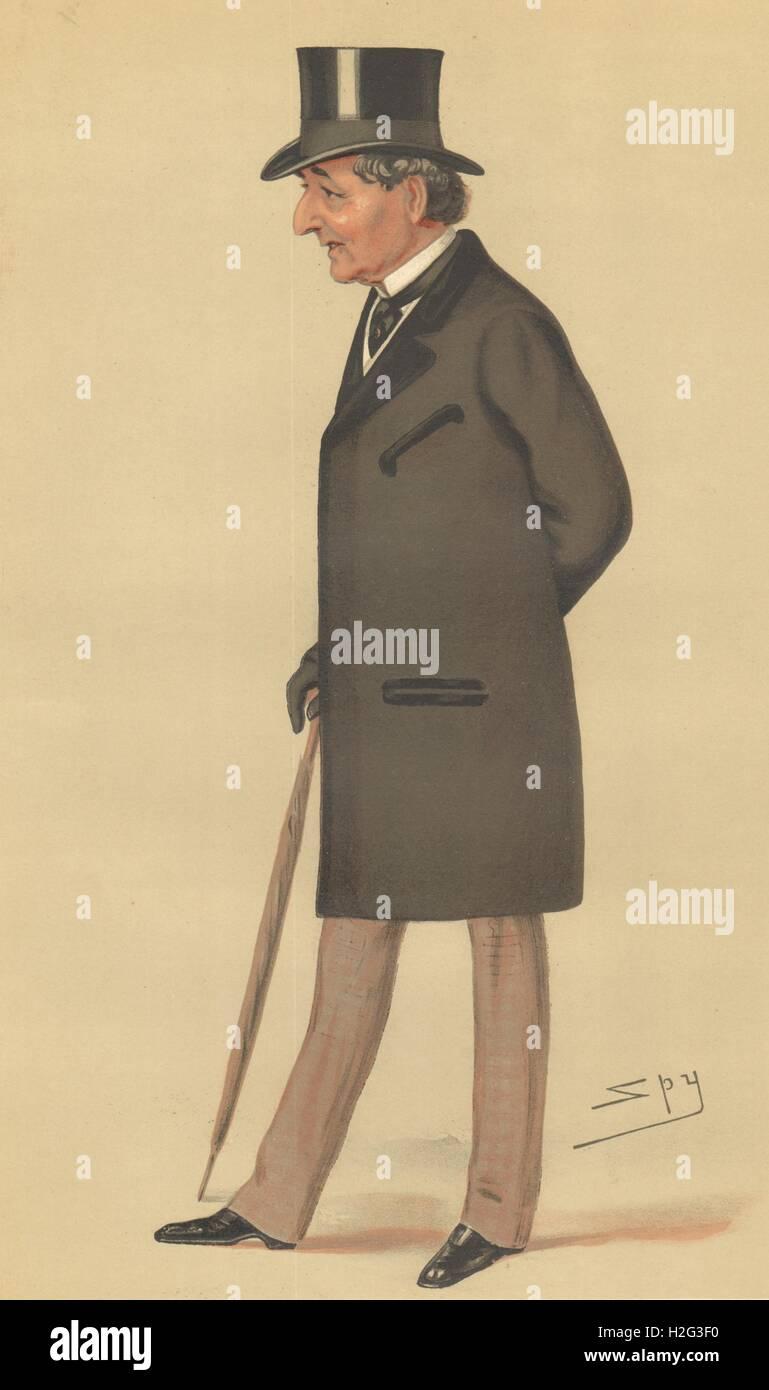 VANITY FAIR SPY CARTOON. Alfred Montgomery. Finance. By Spy. caricature 1878 Stock Photo