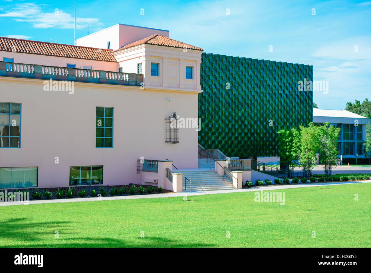 The modern distinctive jade green Center for Asian Art in the Dr, Helga Wall-Apelt Gallery at Ringling Art Museum, - Stock Image