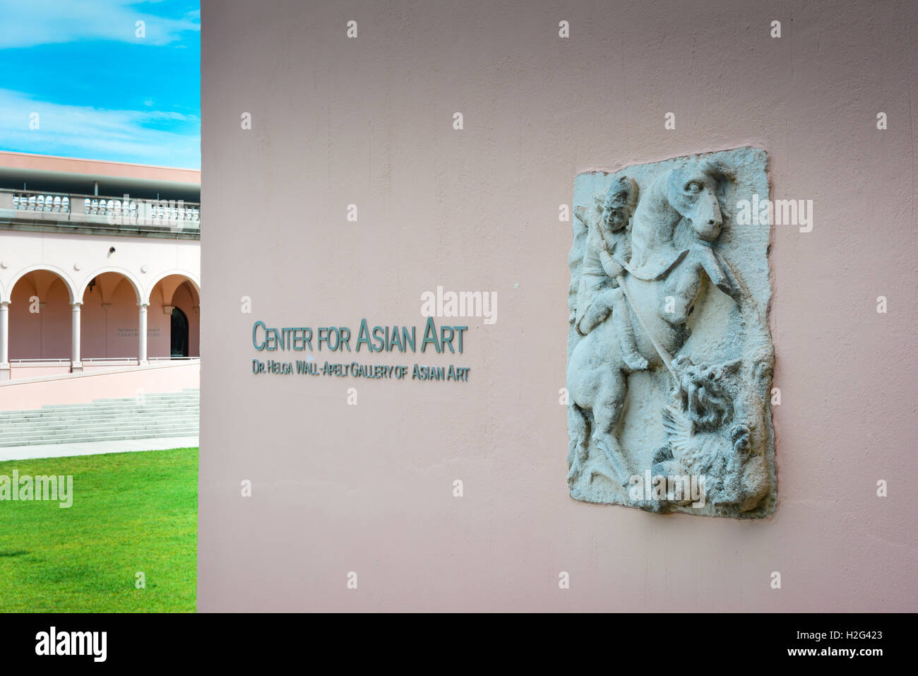 Entrance with ancient plaque to Center for Asian Art in the Dr, Helga Wall-Apelt Gallery at Ringling Art Museum, - Stock Image