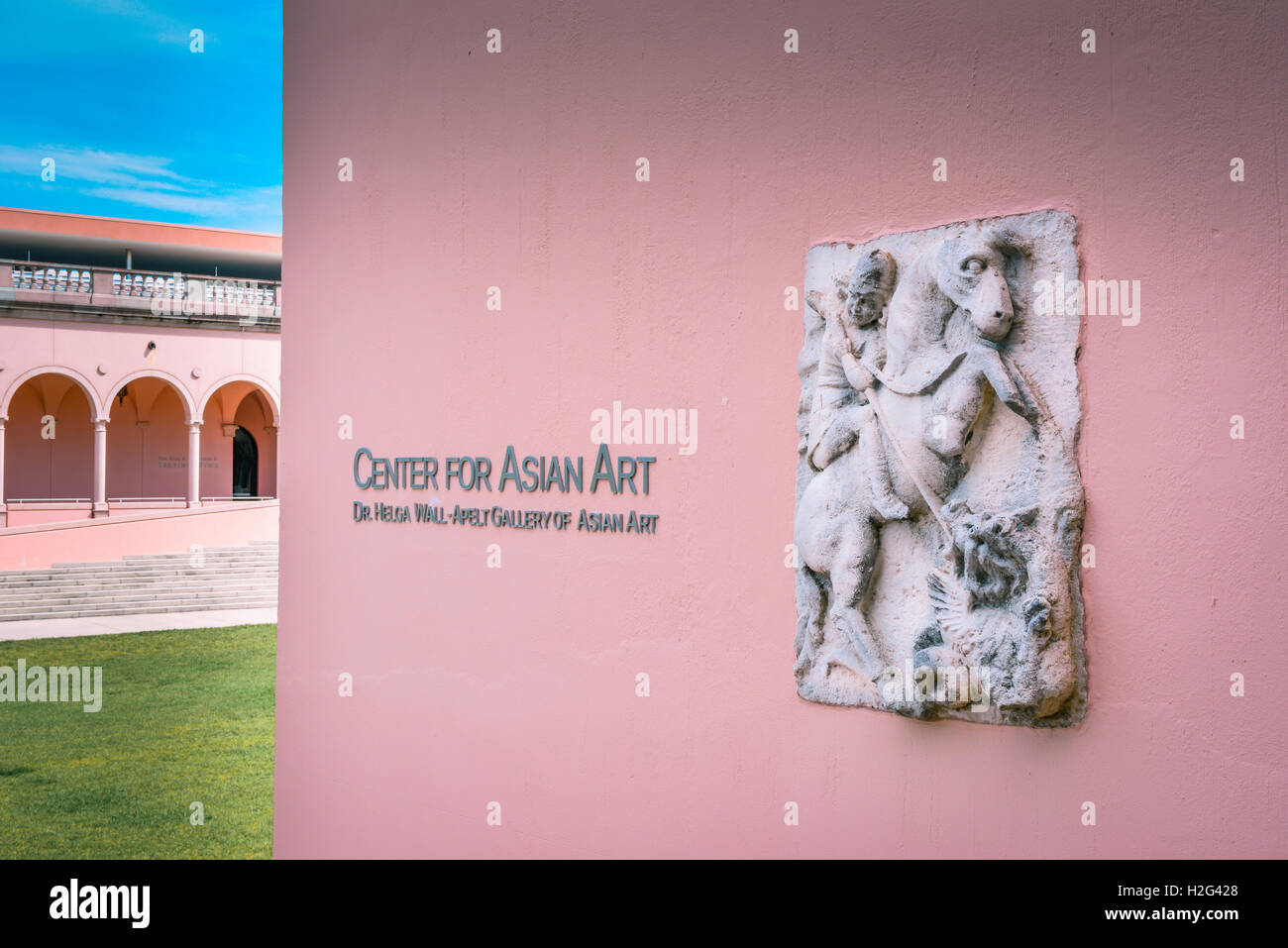 Entrance with ancient plaque to Center for Asian Art in the Dr. Helga Wall-Apelt Gallery at Ringling Art Museum, - Stock Image