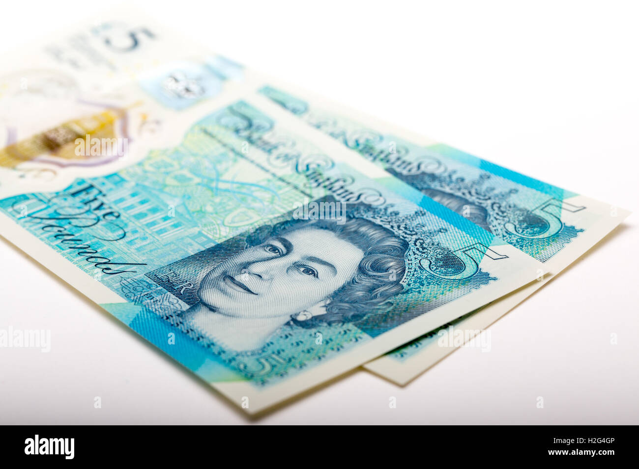The New waterproof Polymer UK Five Pound Note - Stock Image