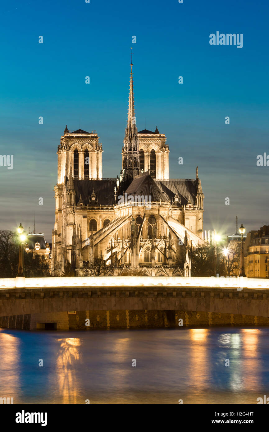 The Notre Dame cathedral in evening, Paris, France. - Stock Image