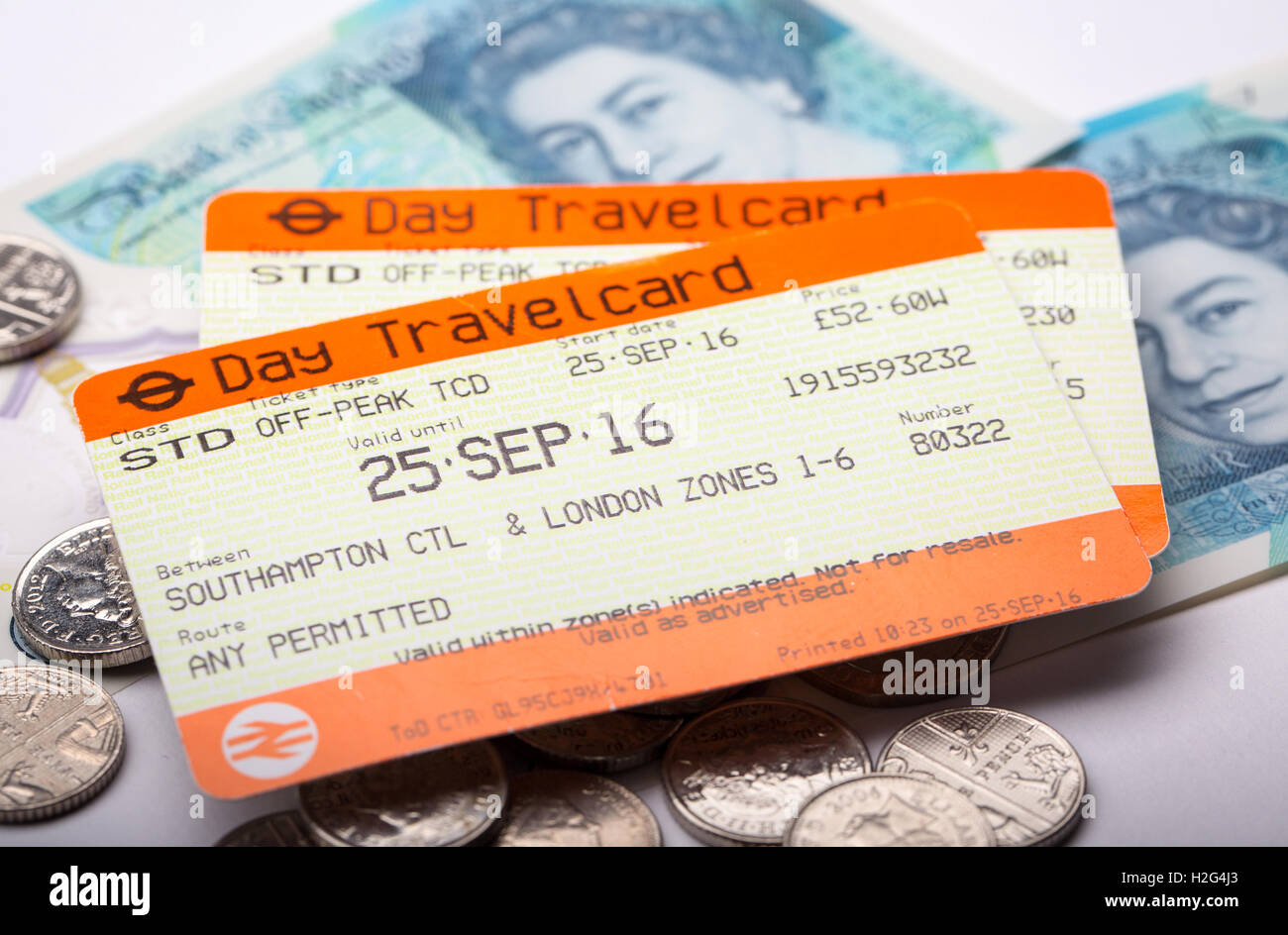 National Rail train tickets with UK money - Stock Image