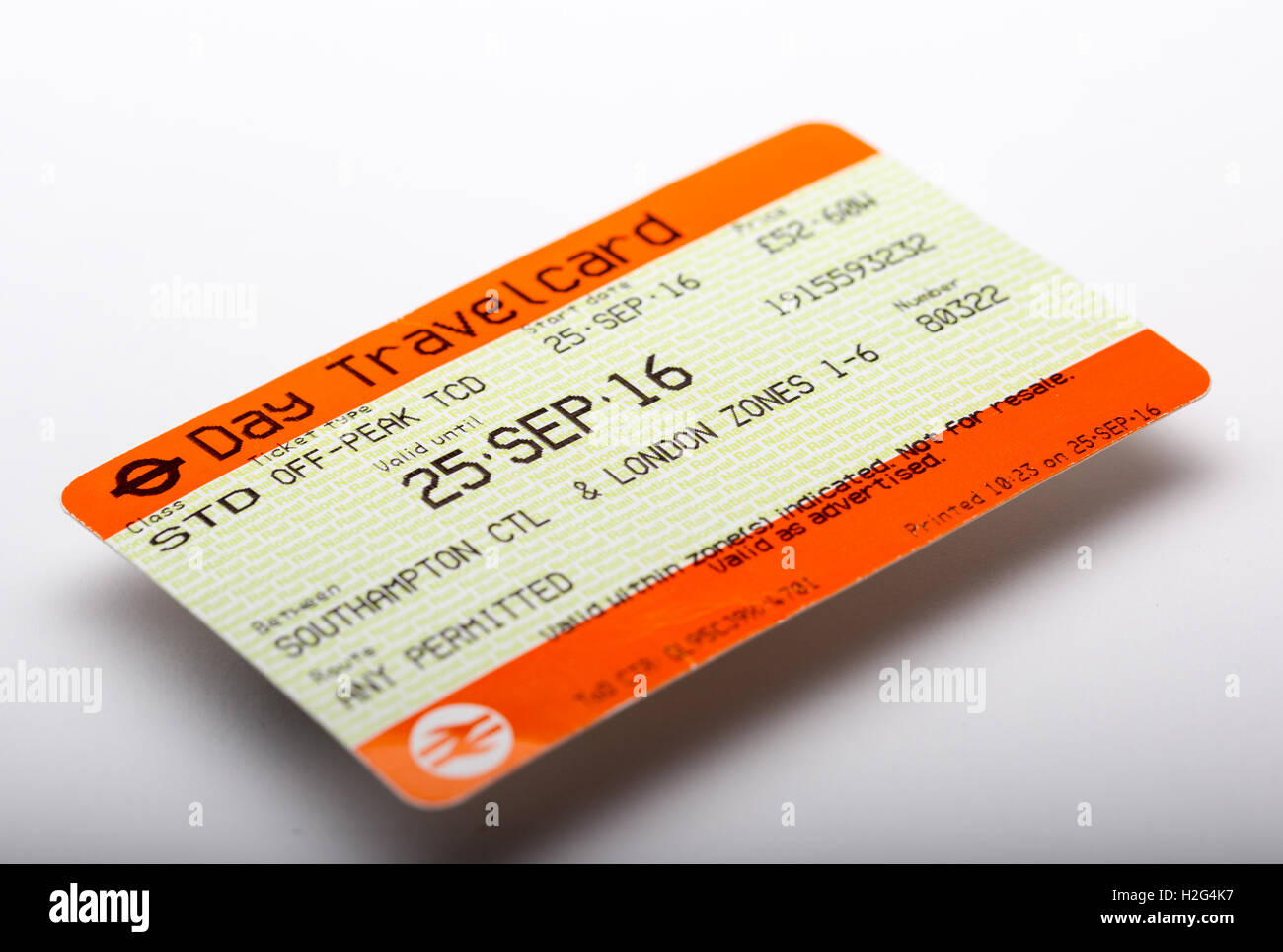 A National Rail Day Travel Card train ticket - Stock Image