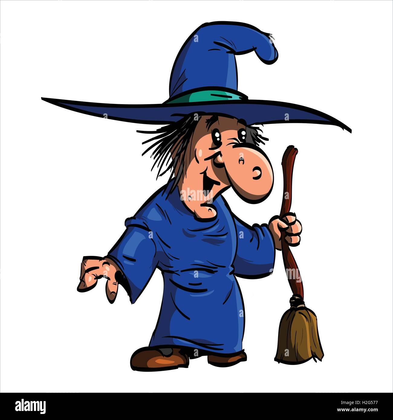 Cartoon illustration of Befana or a wtich with blue clothes and a broomstick. - Stock Vector