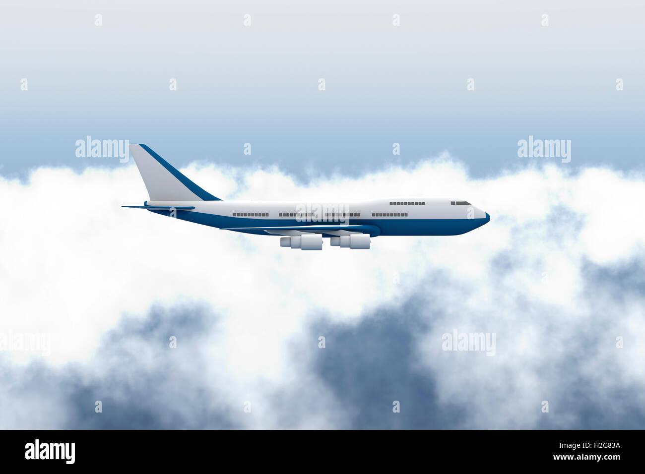 Aeroplane (Airplane) Flying - Stock Image