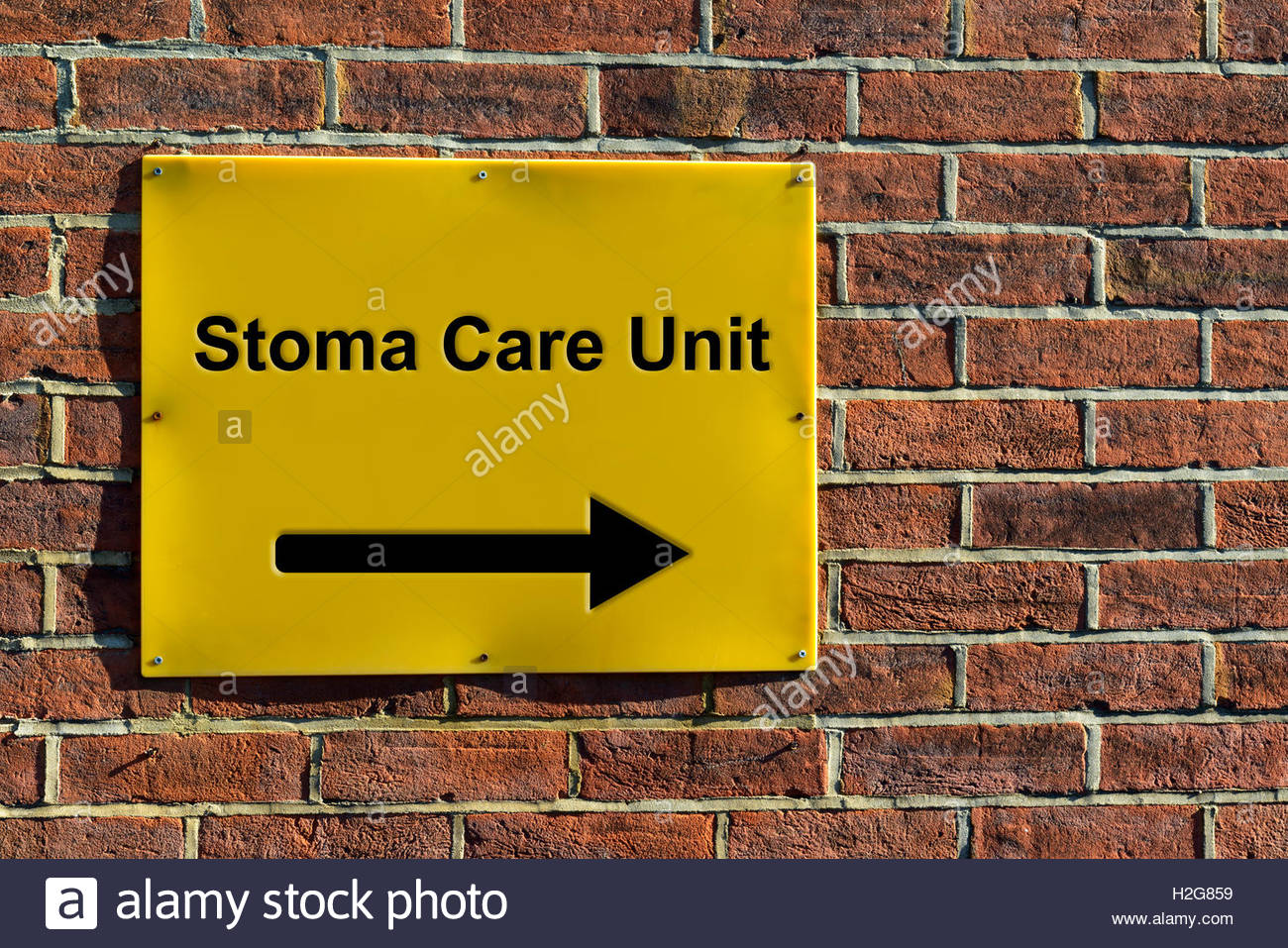 Stoma Care Unit, NHS wall mounted direction sign. - Stock Image
