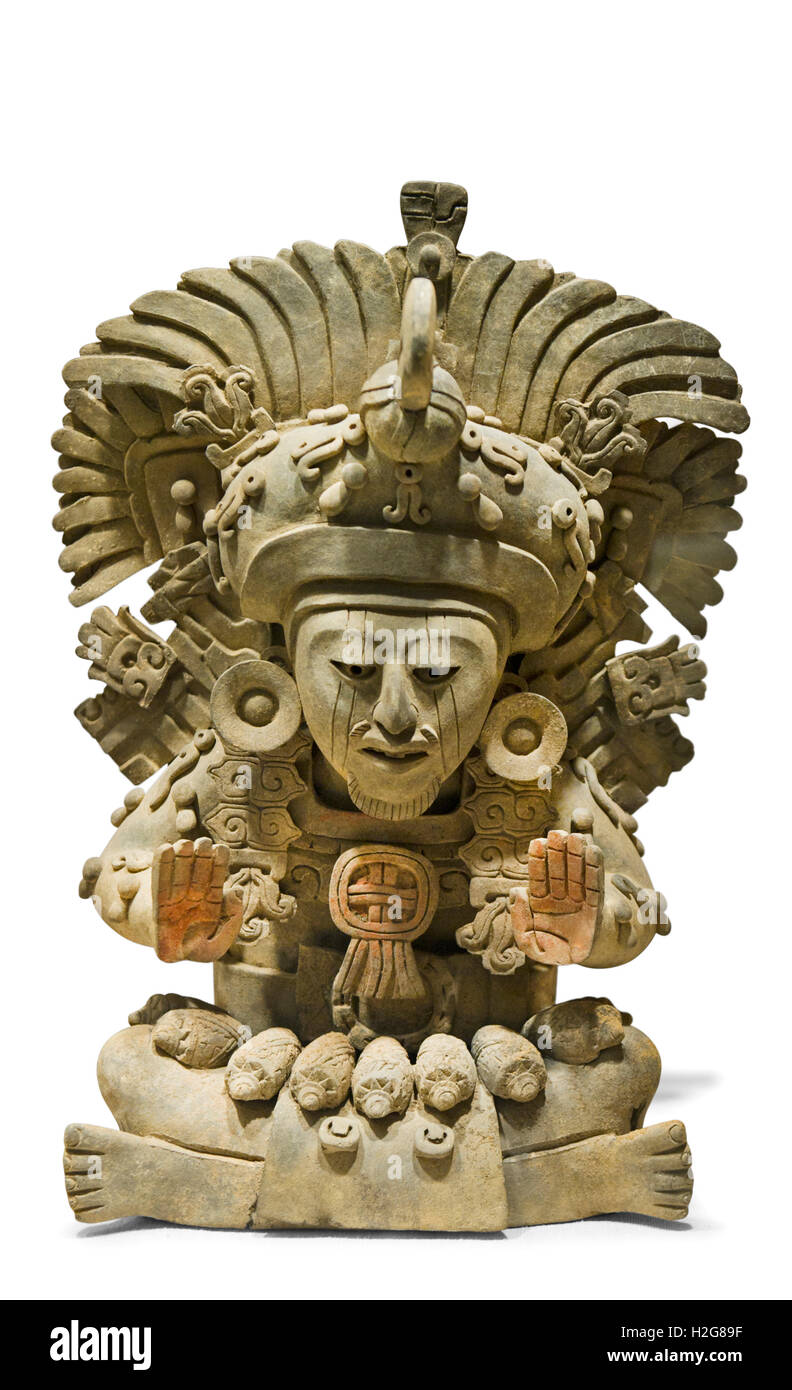 Funerary Earn with seated figure with large feather headdress dates from 4 - 5th century from Mexico - Stock Image