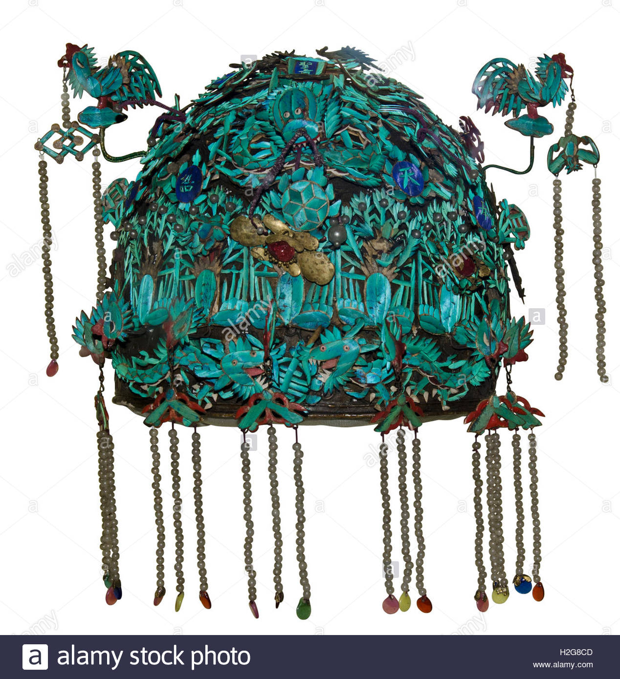 Kingfisher feather headdress from China, Qing Dynasty 1644-1911, play album leaf.  Most sought after feathers came - Stock Image