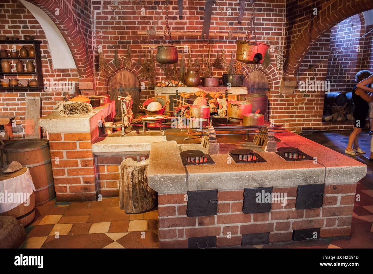 poland malbork castle interior medieval convent kitchen in high castle stock image