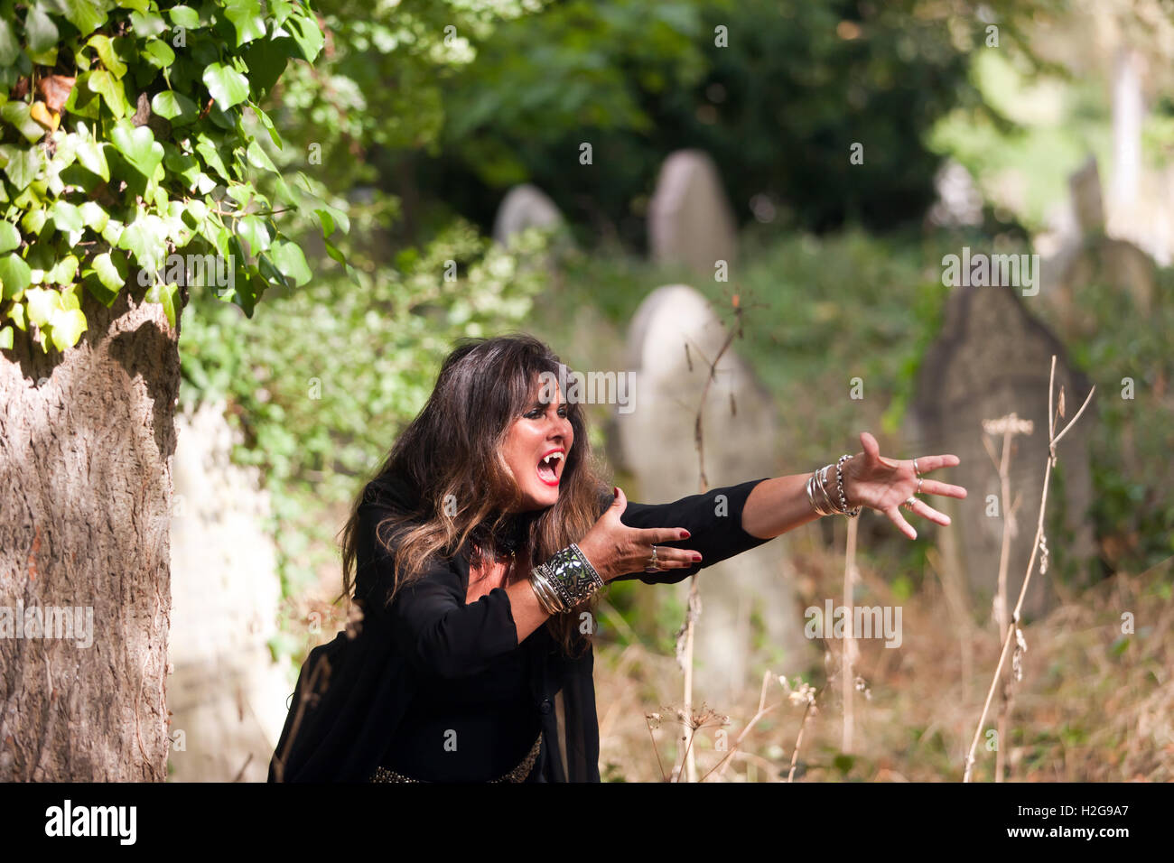 """Actress Caroline Munro playing a vampire in a short comedy-horror film called """"Count Frankula"""" written by David Stock Photo"""
