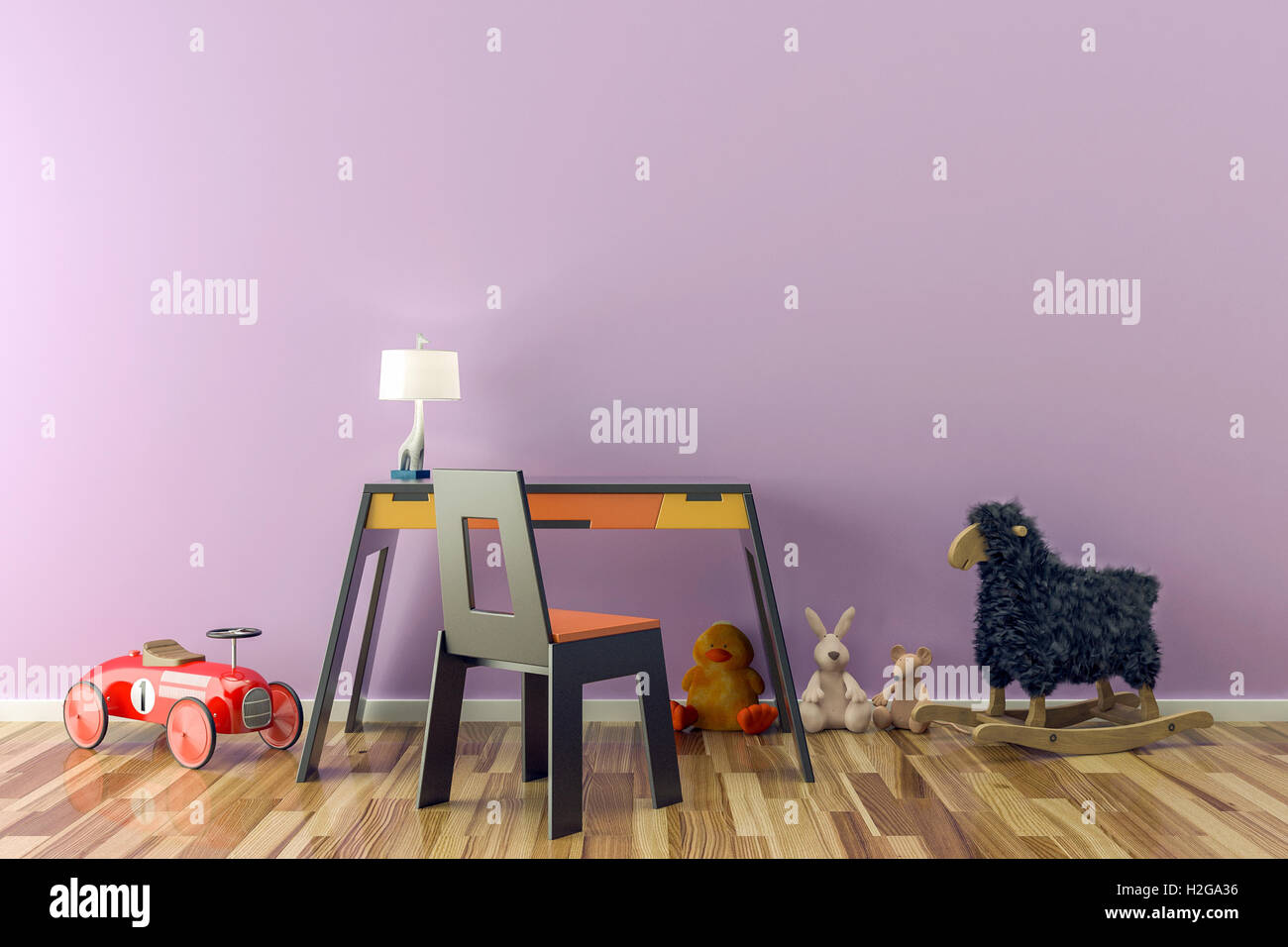 Empty Kids Room With Toys Work Desk And Chair 3D Illustration
