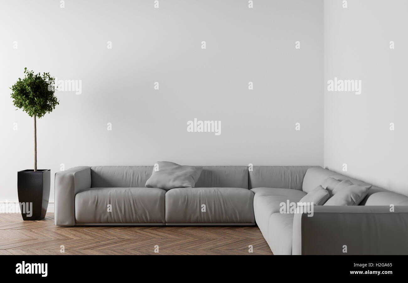 Sofa In Empty Room Parquet On The Floor Interior Plant Left Side Put Your Creation This Wall 3D Illustration