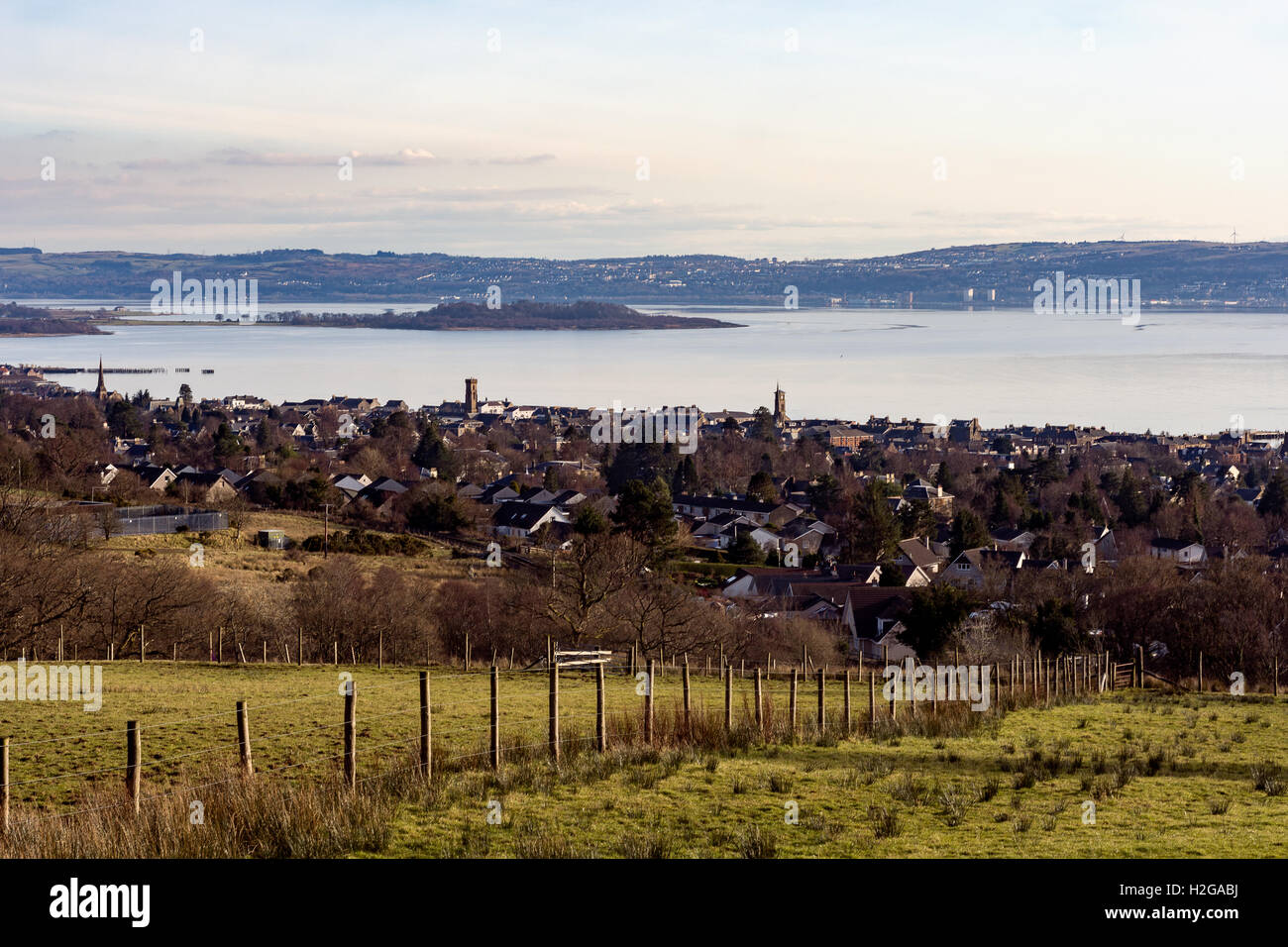 A small town on the river Clyde Scotland UK - Stock Image