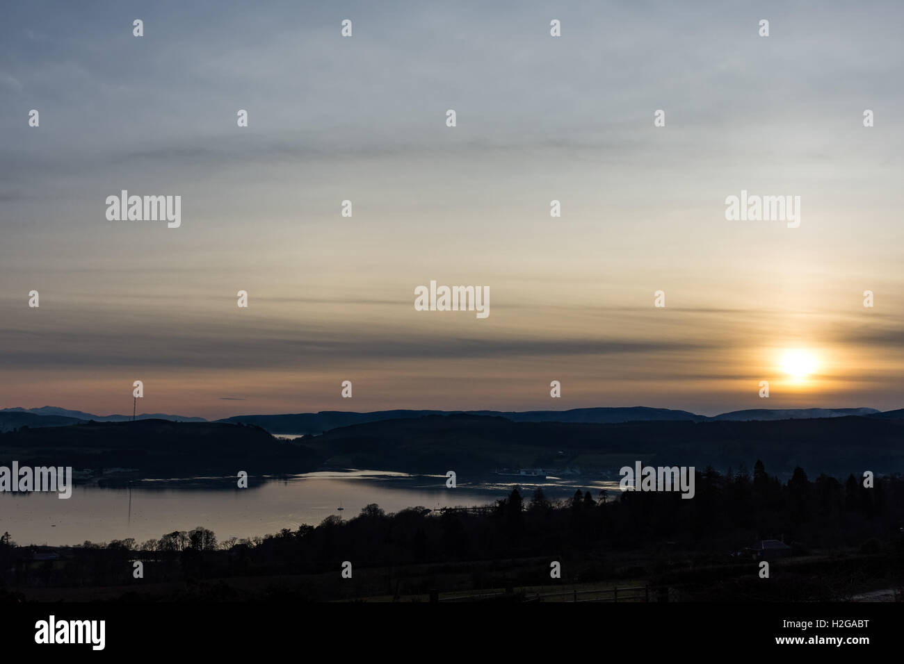 Cold winter sunset over the river Clyde Scotland UK - Stock Image