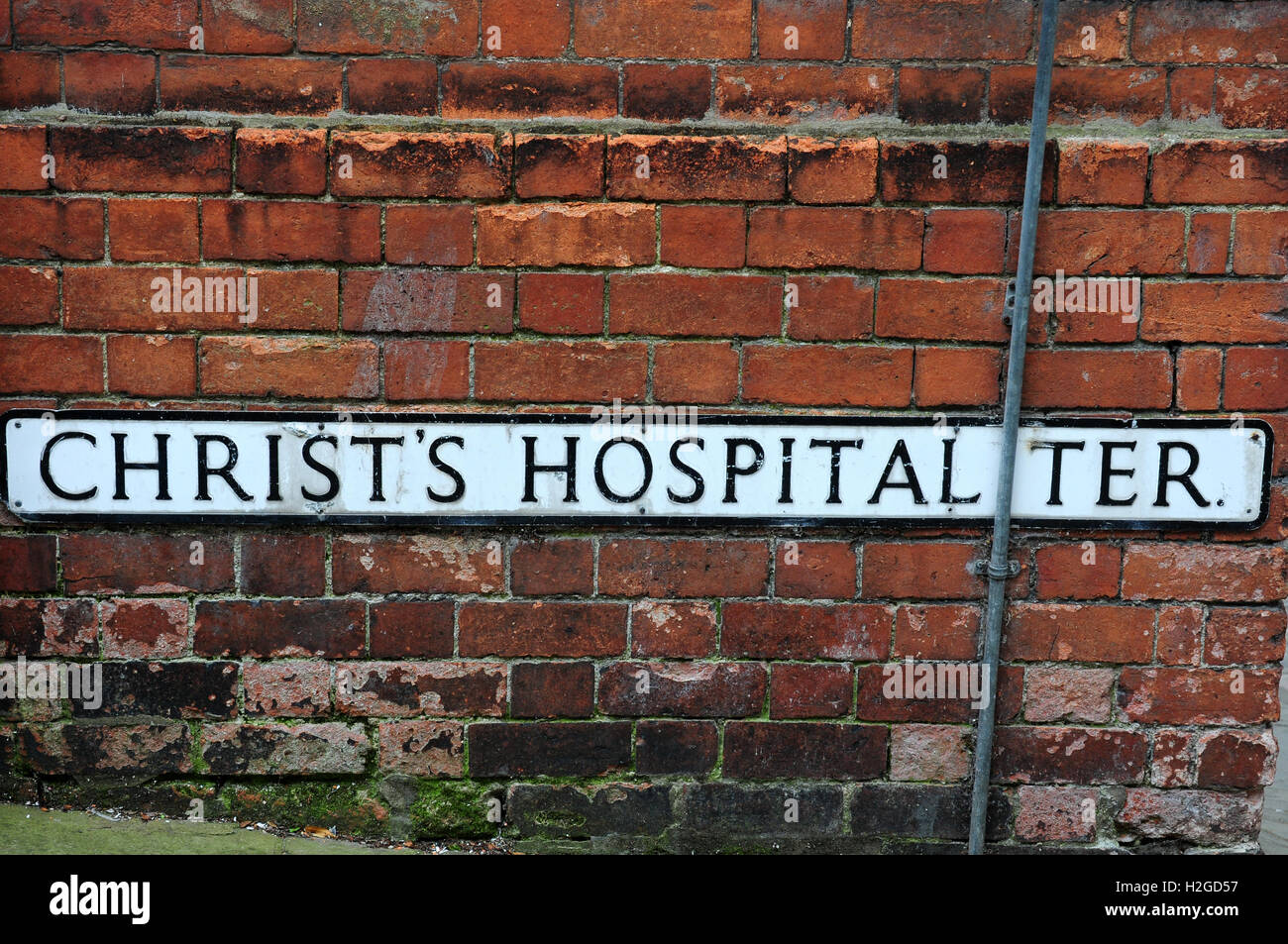 Name of road off Steep Hill Lincoln - Stock Image