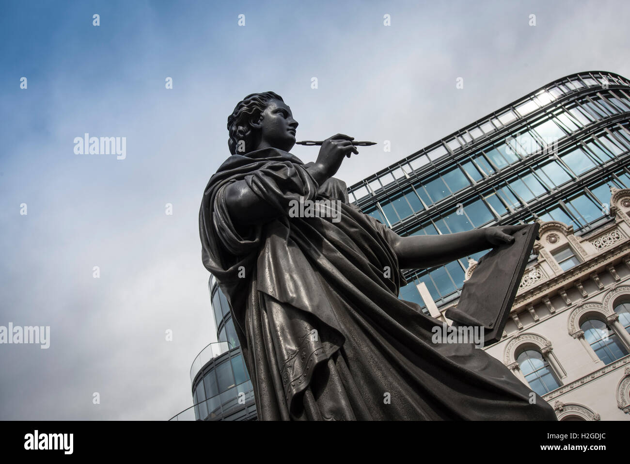 statue of Holborn Viaduct in London - Stock Image
