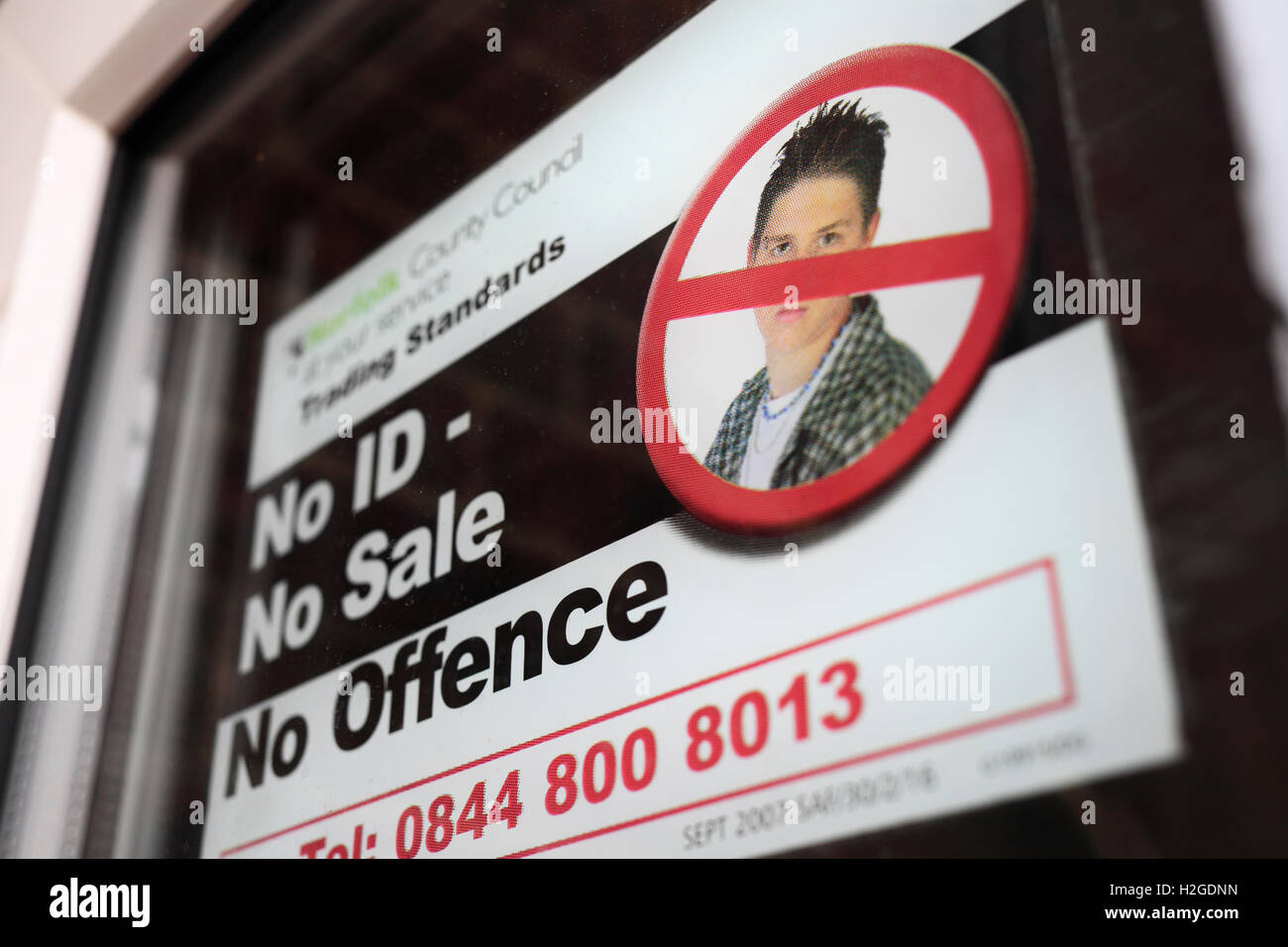 Sign on the door of a public house 'No ID - No Sale.' - Stock Image