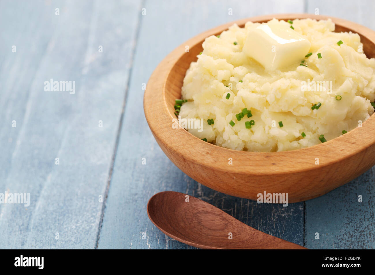 homemade mashed potatoes with melting butter - Stock Image
