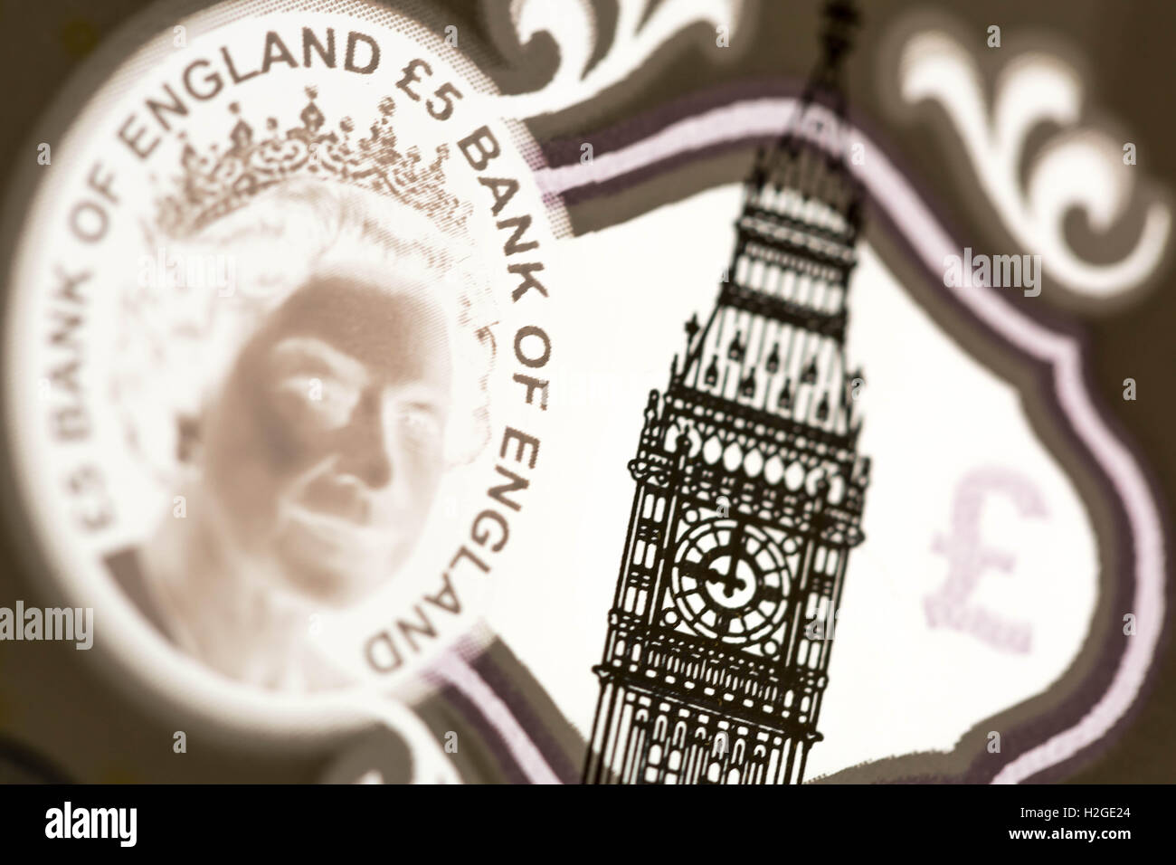 New issue British £5 polymer banknote - Stock Image