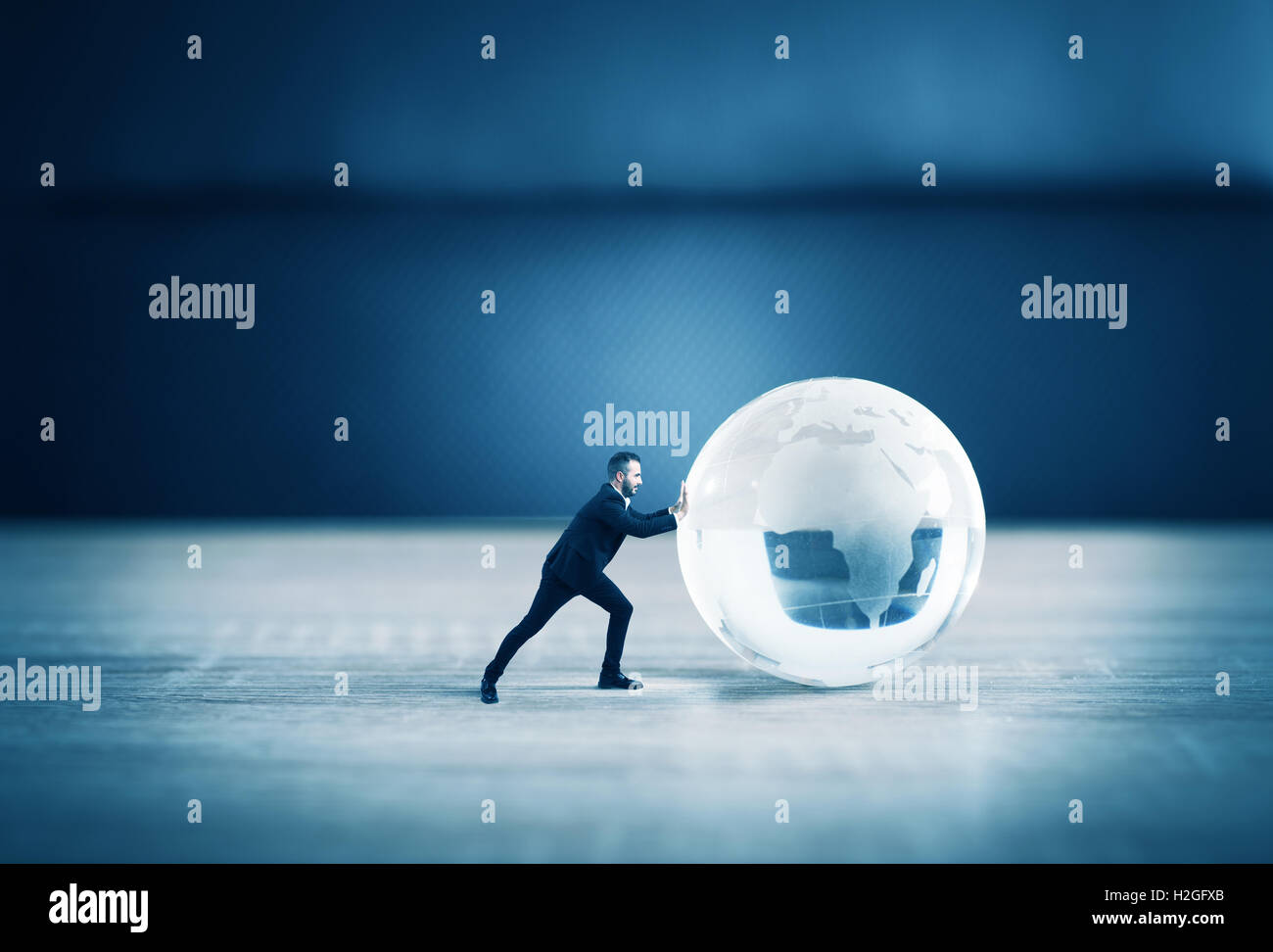 Business world glass sphere - Stock Image