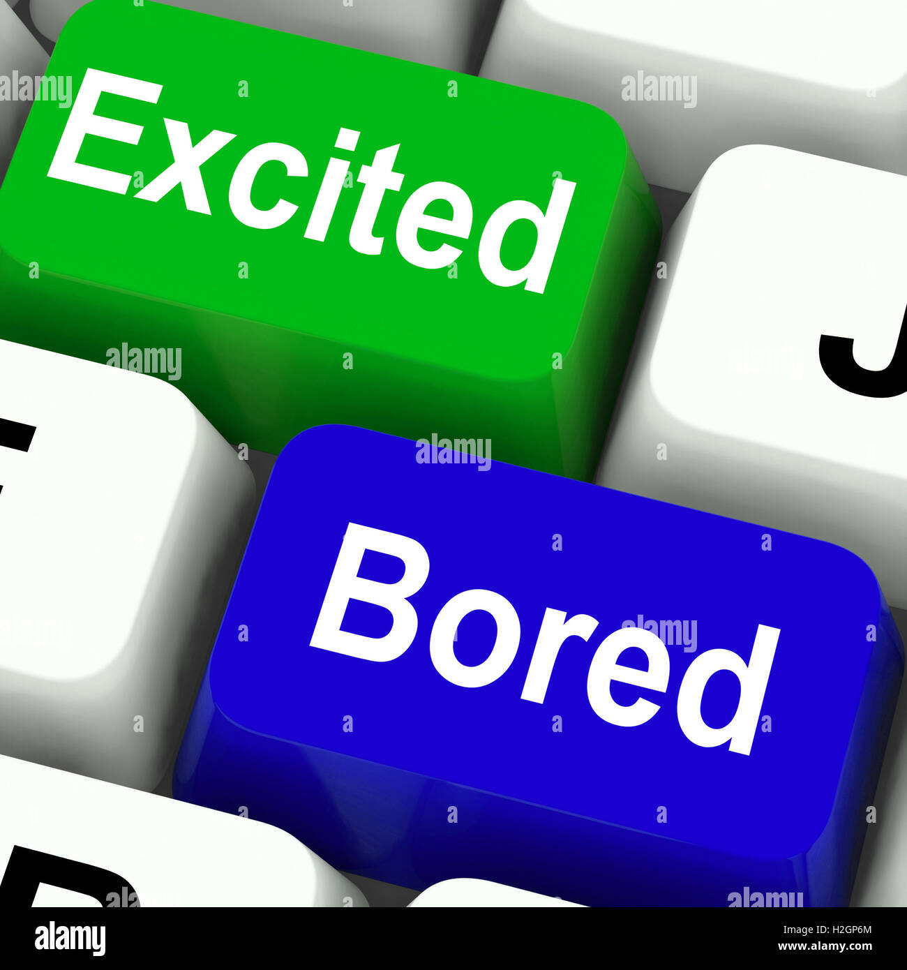 Excited Bored Keys Show Exciting And Boring Websites Stock Photo