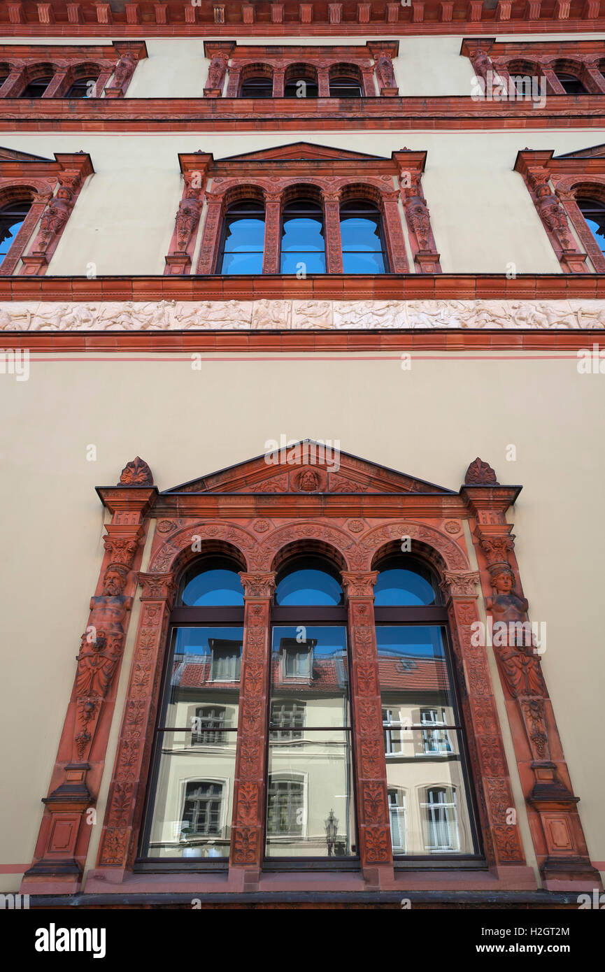Decorative windows, Fürstenhof, Renaissance, Wismar, Mecklenburg-Western Pomerania, Germany - Stock Image
