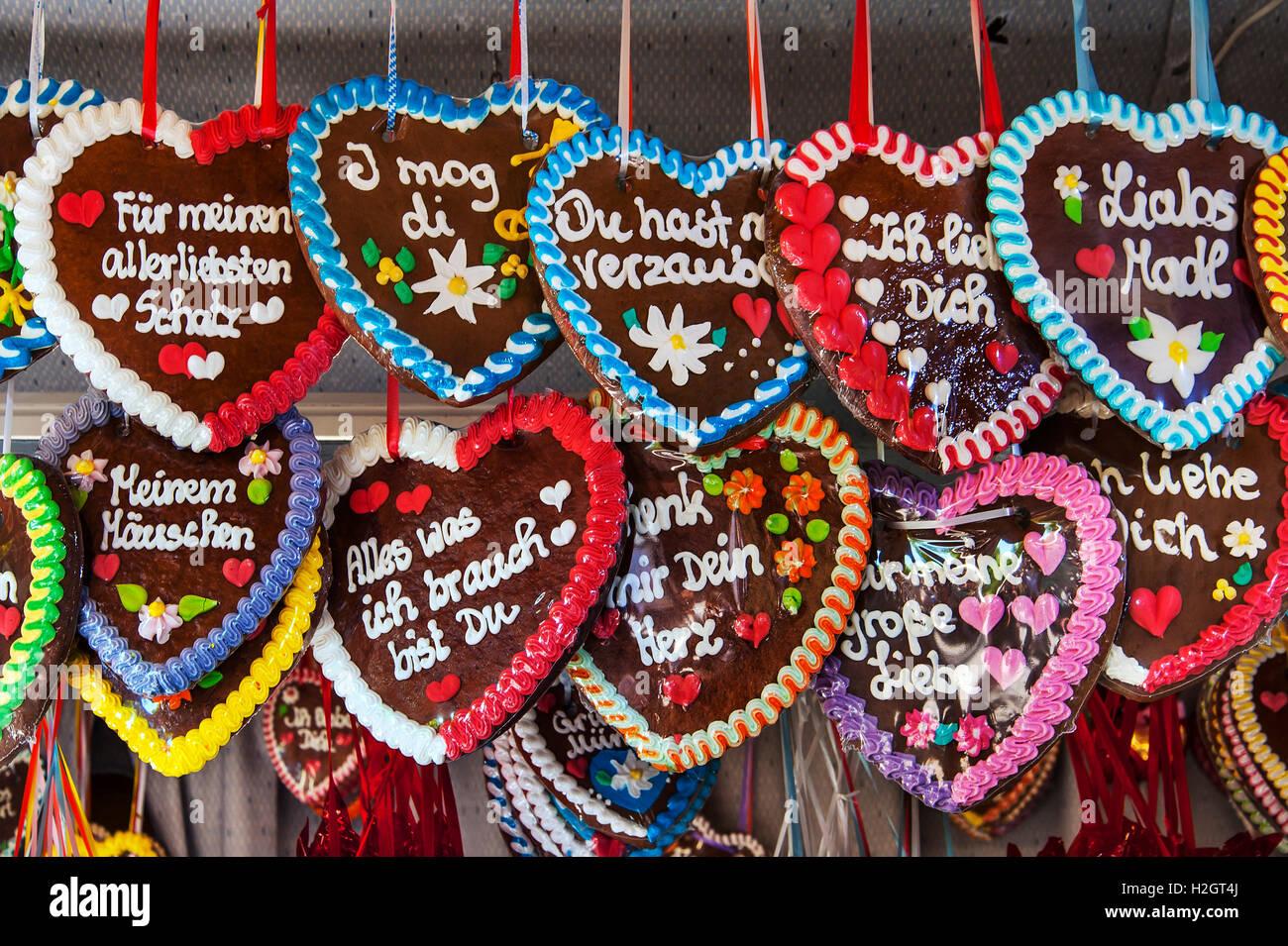Gingerbread Hearts Lebkuchen Auer Dult Munich Bavaria Germany